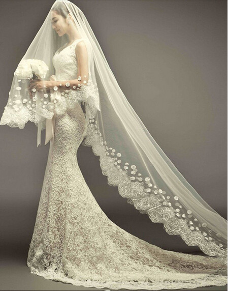 2015 New Luxury Wedding Veil With Long Train 3M White Ivory Wedding Accessories Wedding Dress