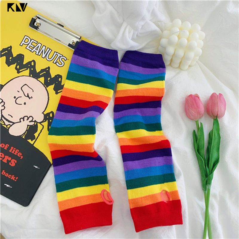 Women Girl Harajuku Elbow Length Fingerless Arm Sleeve Warmer Rainbow Colored Striped Knitted Sunscreen Halloween Costume Gloves