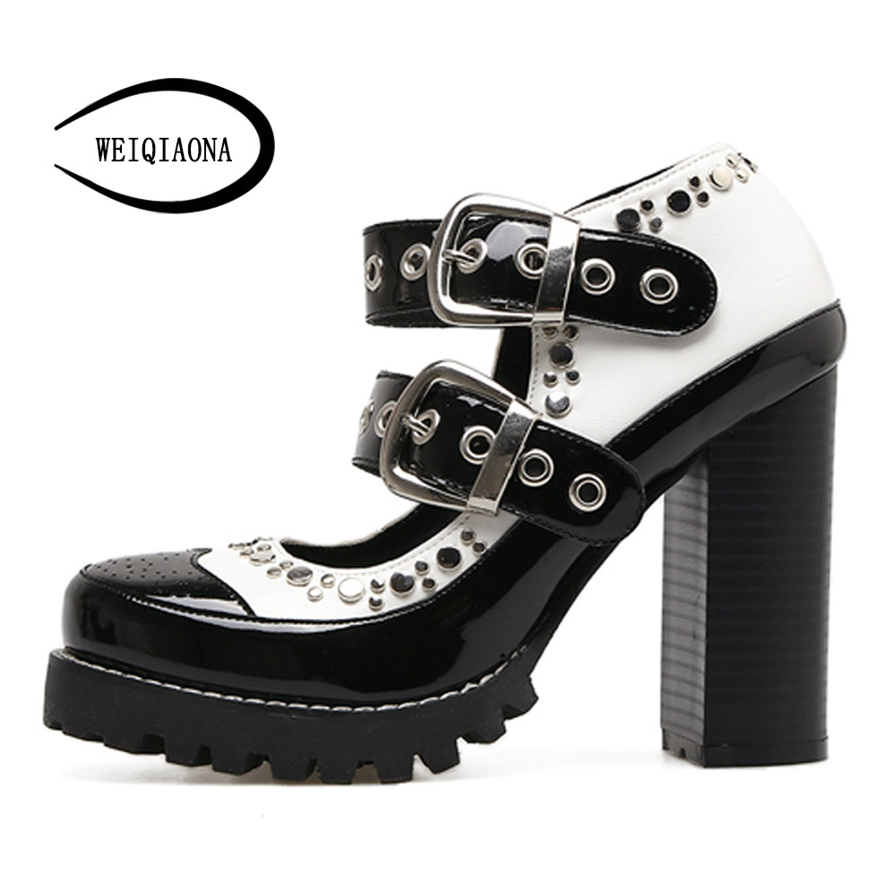 WEIQIAONA Women's New Fashion Patent leather Rock style rivet Single shoes strong High heels pumps Mary Jane shoes