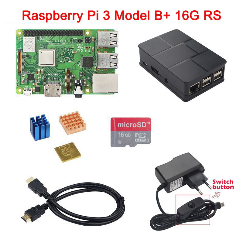 In Stock Raspberry Pi 3 Model B+ Plus+ABS Case+Power Adapter+Heat Sink+16G SD Card+Card Reader+ HDMI Cable for Raspberry Pi 3B+