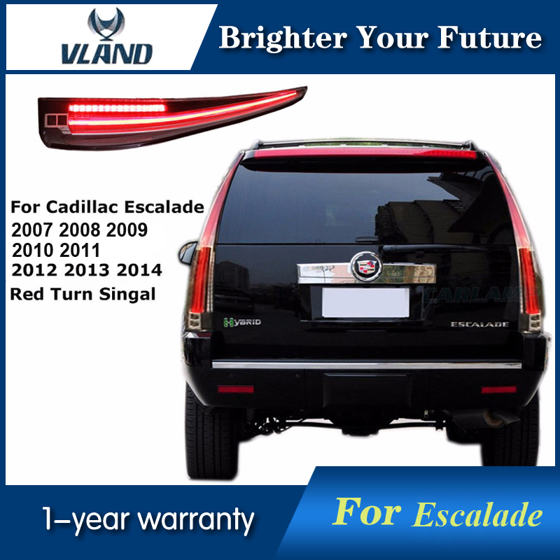 Vland LED Tail Lights Fits Cadillac Escalade ESV 2007-14 LED TailLight Assembly Rear Lamp with Red Turn light vland led tail lights for cadillac escalade esv 2007 2008 2009 2010 2011 2012 2013 2014 led tail light rear lamp