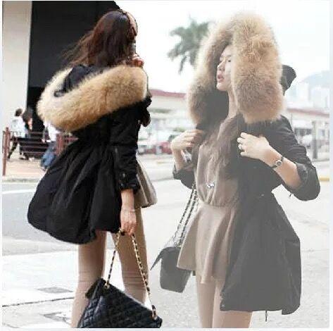 2016 Winter New Korea Parkas Women Plus Size Hooded Raccoon Fur Black Coats Tooling Cotton Jacket
