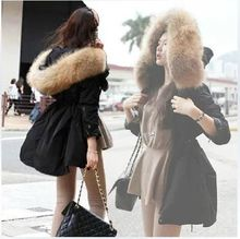2016 Зима Новый Корея Ветровки Женщины Плюс Размер С Капюшоном Мех Енота Черный Пальто Оснастки Хлопка Куртки