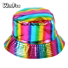 Winfox Fashion Houndstooth Plaid Bucket Hats Soft Folding Cap Women Hip Hop Outdoor Sport Ladies Beach Sun Fishing Hat