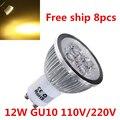 8pcs/Lot 12W LED Spotlight dimmable GU10 LED lighting led downlight dimmers LED spotlights LED bulbs light lamps Free Shipping