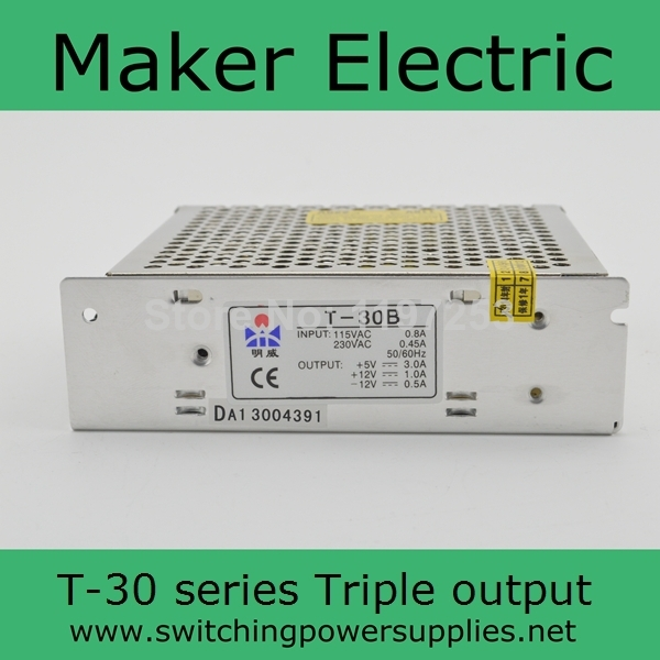 30W triple output Power supply 5V 12V -5V swithcing power supply T-30A high quality two years warranty