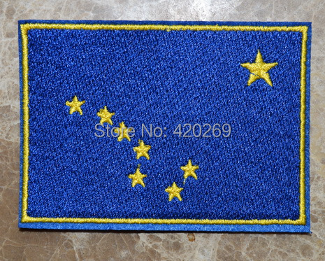 HOT SALE! ~ ALASKA STATE FLAG USA United States Iron On Patches, sew on patch,Appliques, Made of Cloth,100% Guaranteed Quality