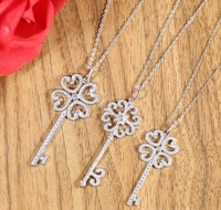Hot 100% Original 925 Sterling Silver Romantic Fashion Women Necklace Jewelry Silver Color Clover Flower Key Pendant Necklace