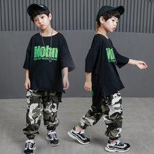 Kid Hip Hop ropa Casual camiseta Tops camuflaje pantalones para niñas niños  traje de la Danza del Jazz ropa de baile de salón de. 9ea9abcc539