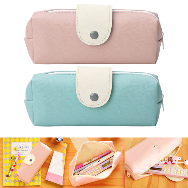 5abf2579e6 Hot Sales New Cute Kawaii Pure Color Leather Pencil Case School Pencil Bag  For Girls Korean