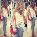 2015 womens crochet tops feminino women hem tassel sexy tanks top croche new knitted vest Bohemian style