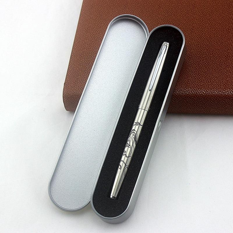Luxury Brand Jinhao Shine Platinum Steel Fountain Pen Silver Metal Fine Hooded Nib Office School Stationery Writing Ink Pens