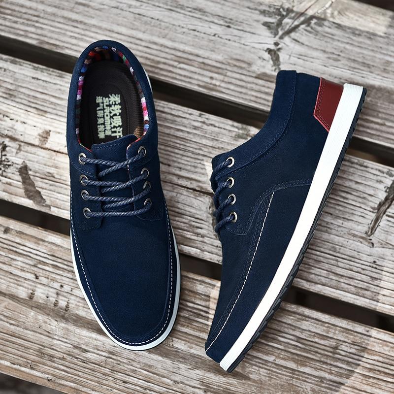 95fa94d87 SUROM الرجال جلد حذاء كاجوال العلامة التجارية الخريف الشتاء جديد أزياء  رياضية حذاء رجالي الكبار الأخفاف