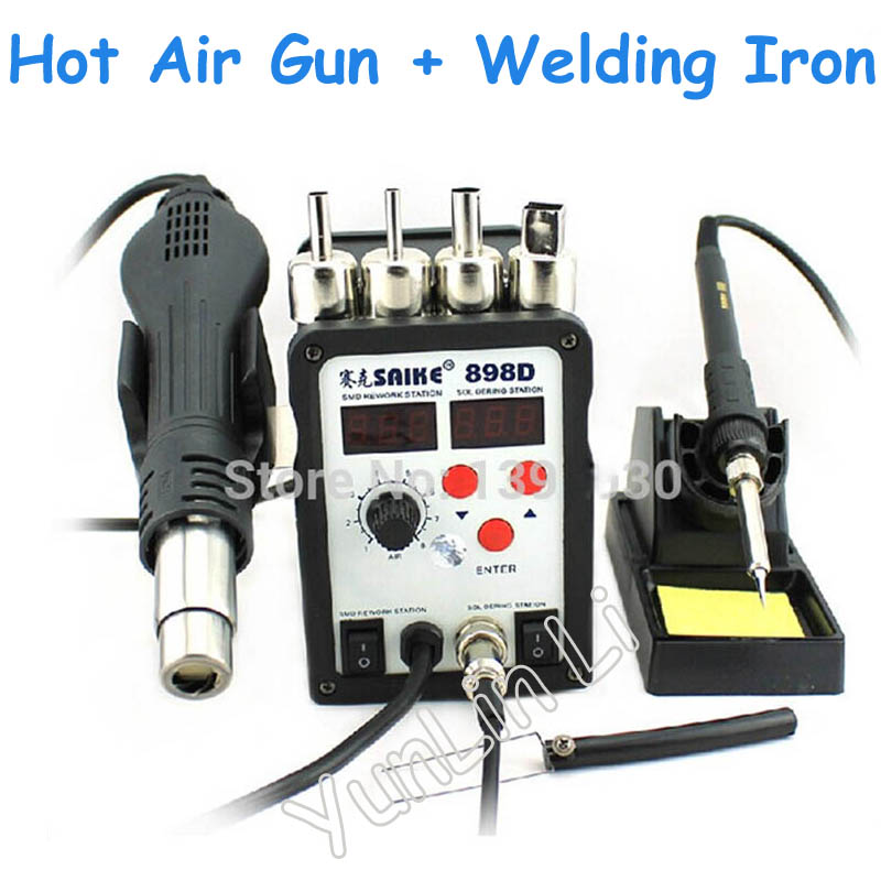 цена на 1pc 2 in 1 Soldering Station Hot Air Gun + Welding Iron 220V/110V 898D