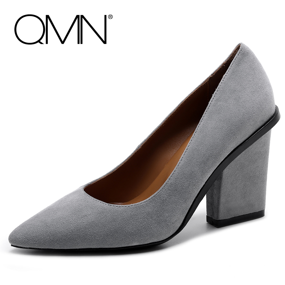 QMN women genuine leather pumps Women Kid Suede Sexy Pointed Toe High Heel Court Shoes Woman Natural Leather Shallow Heels qmn women crystal embellished natural suede brogue shoes women square toe platform oxfords shoes woman genuine leather flats