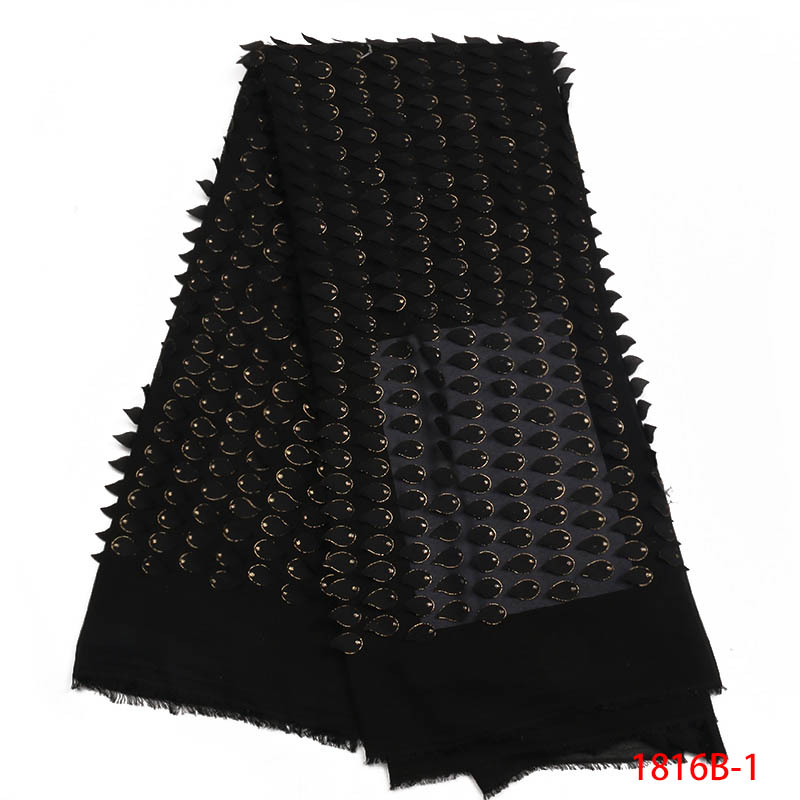Latest Nigerian laces Fabric 2018 African Black Laces Fabrics With Sequins High Quality Nigerian Lace Fabric