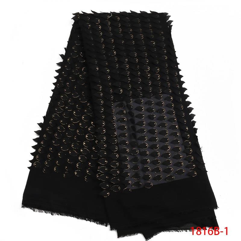 Última tela de encaje nigeriano 2018 tela de encaje negro africano con lentejuelas tela de encaje nigeriano de alta calidad para fiesta XZ1816B 1-in encaje from Hogar y Mascotas    1
