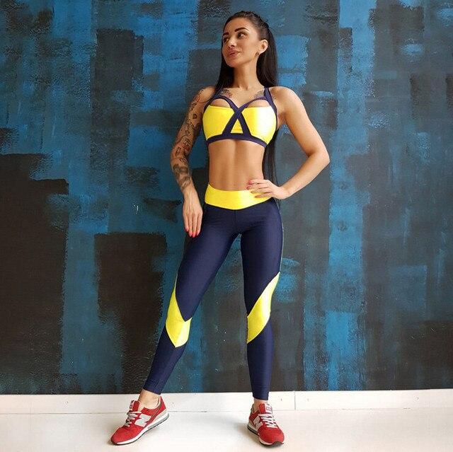 074554f34c81 Ropa deportiva Mujer sujetador amarillo y pantalones largos mujer traje  deportivo transpirable dos piezas conjunto Top