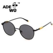 Adewu Ronda Retro gafas de Sol de Los Hombres de La Vendimia Masculina Gafas de Sol de Diseñador de la Marca Maestro Espejo Sunglass gafas de sol hombre redondas