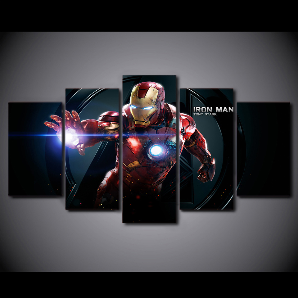 HD Printed cartoon Movie Iron man 5 piece picture painting wall art Canvas  Print room decor poster canvas Free shipping H047 in Painting   Calligraphy  from. HD Printed cartoon Movie Iron man 5 piece picture painting wall