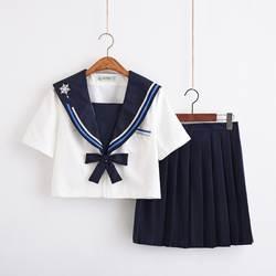 UPHYD новый летний короткий рукав Япония Школьная форма хлопок белая рубашка и плиссированная юбка темно моряка Костюмы Студент JK форма
