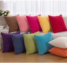 Super Soft Corduroy Solid Lattice Cushion Covers Red Yellow Blue Brown Cotton Pillow 45*45cm Decorative Pillowcases