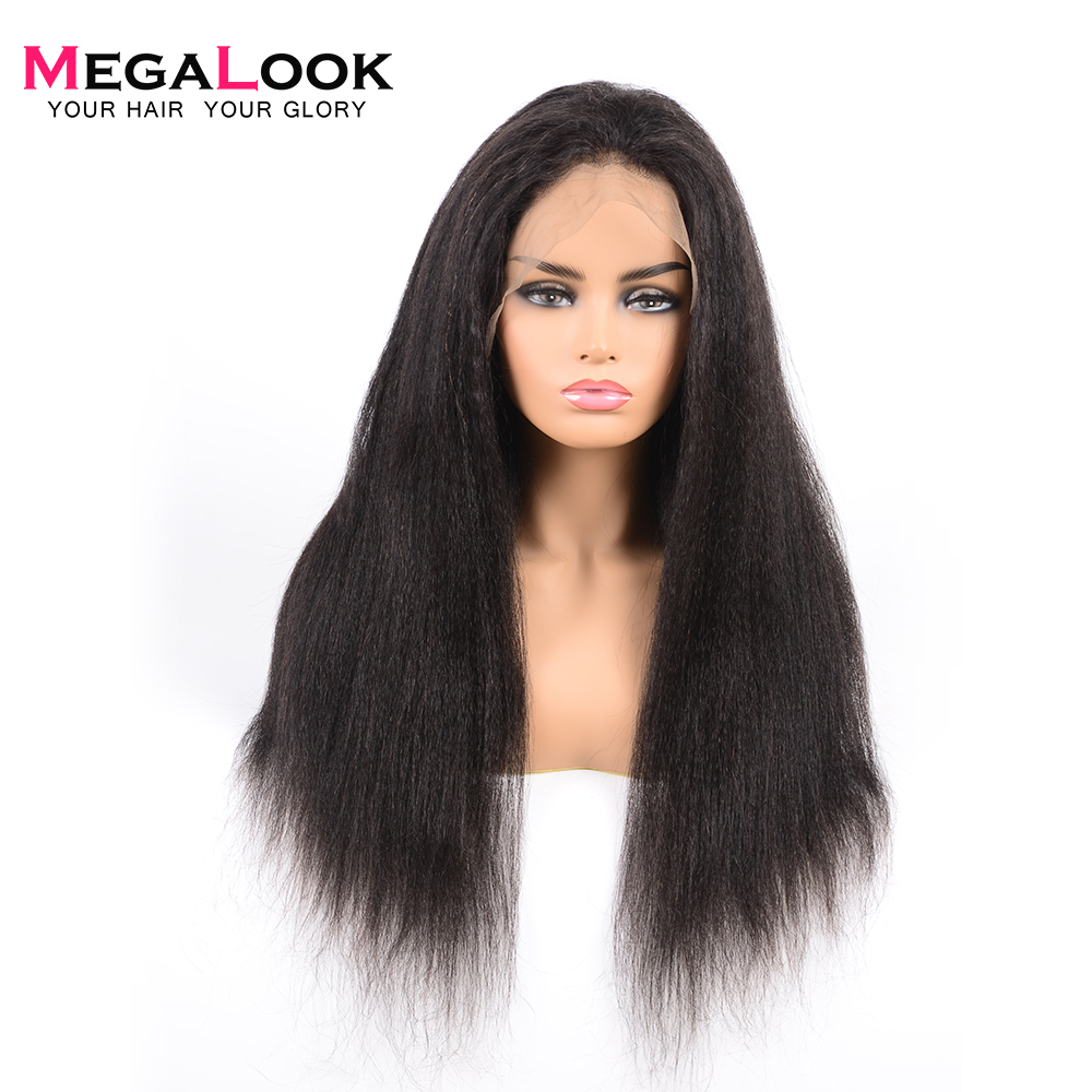 Megalook 360 Lace Frontal Wig Yaki Straight 180 Density Brazilian Remy Human Hair Wig Lace Front
