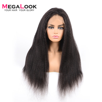 Megalook 360 Lace Frontal Wig Yaki Straight 180% Density Brazilian Remy Human Hair Wig Lace Front Pre Plucked with Baby Hair
