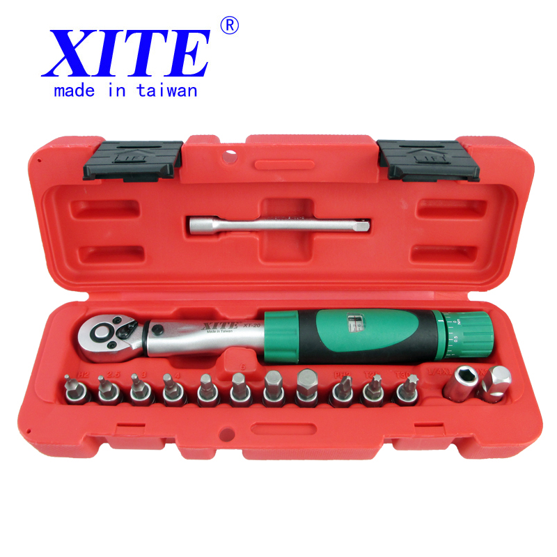 15Pcs/Set 1/4DR 2-20Nm bike torque wrench set Bicycle repair tools kit ratchet machanical torque spanner manual torque wrench mxita 1 4dr 2 14n m manual torque wrench spanner ratchet wrench suit for repairing bicycle packed in plastic storage box