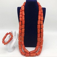 Dudo Jewelry Men Jewelry Set African Nigerian 100% Original Big Coral Beads Jewelry Set 2 Layers Necklace Bracelet Set Jewellery