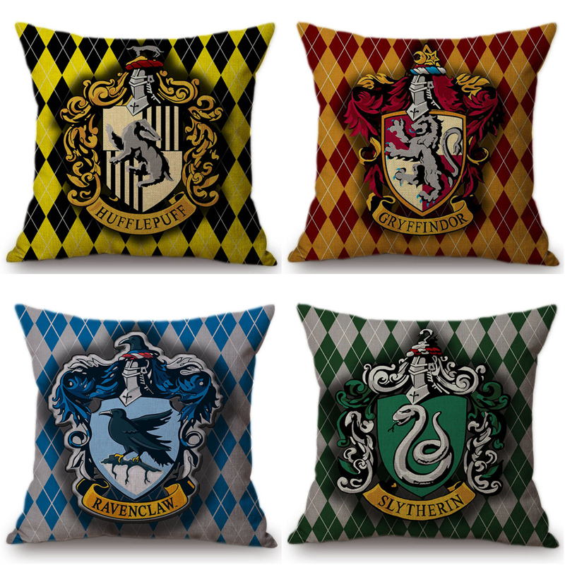 Harry Potter Decorative Cushion Cover For Sofa Car Hufflepuff Gryffindor Slytherin Ravenclaw Cotton Linen Square Pillow Cases