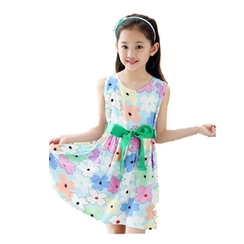 cccdb3f27cab Summer 2016 Girl Dress Casual Cotton Sleeveless Baby Girls Clothes Flowers  Print Dresses with Belt Fashion Vestido Infantil-in Dresses from Mother    Kids on ...