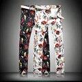 Cor Floral impressão Calças de Algodão Lavado dos homens Top Moda 3D Padrão de Personalidade Casuais Calças Retas Plus Size