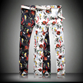 Top Fashion Men's Floral Color printing Trousers Cotton Washed Casual 3D Pattern Personality Straight Pants Plus Size