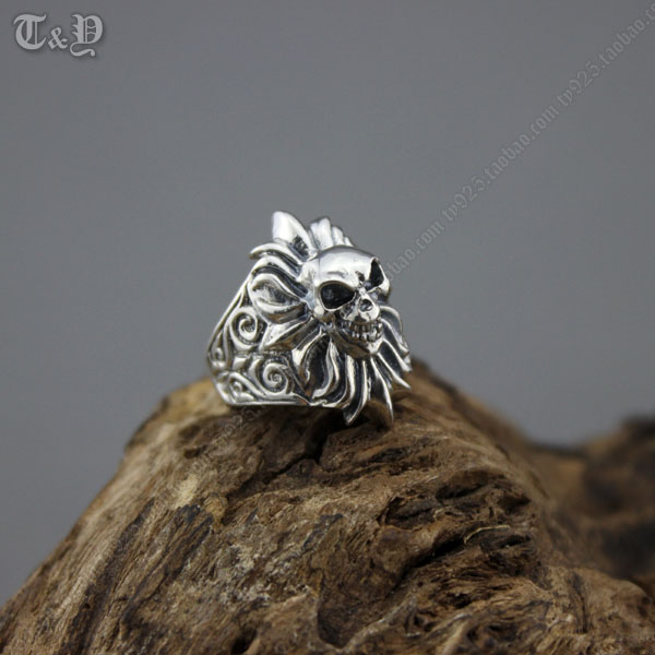 TY silver sterling silver 925 ring looked skulls Thai silver restoring ancient ways men ring silver ring 925 silver men s ring thai silver national wind restoring ancient ways domineering silver ring pop open wholesale offered