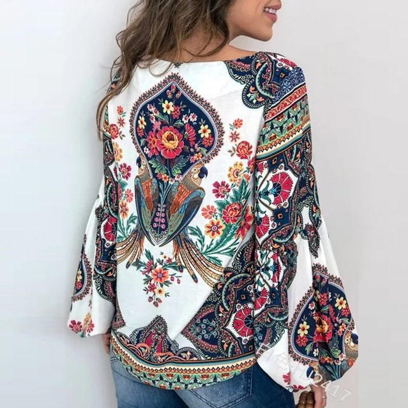 S 5XL Women Bohemian Clothing Blouse Shirt Vintage Floral Print Tops Ladie s Blouses Blusa Feminina