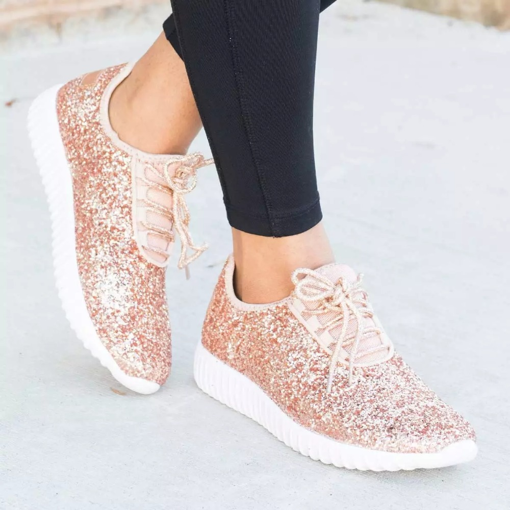 Women Shoes Bling Womens Vulcanize Shoes Plus Size 43 Basket Sneakers Women 2019 New Krassovki White Sliver Women Casual Shoes
