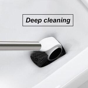 Image 5 - Strona główna szczotka do WC czyszczenie akcesoria łazienkowe uchwyt ze stali nierdzewnej uchwyt podłogowy z podstawą WC zestaw dekoracji narzędzia