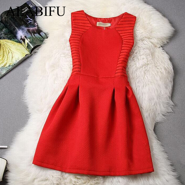 ALABIFU Summer Women Dress 2019 Vintage Hepburn Red A Line Party Dress Elegant Plus Size Sleeveless Lace Dress 4XL 5XL ukraine