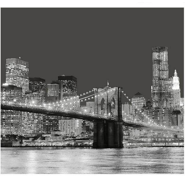 Brooklyn Bridge New York City Night Sight Polyester Shower Curtain  180X180cm Metal Buckle 12 Pcs Plastic
