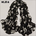 2014 new skull print wrap scarf chiffon soft multicolor warm scarves pink beige black long large shawl women fashion accessories