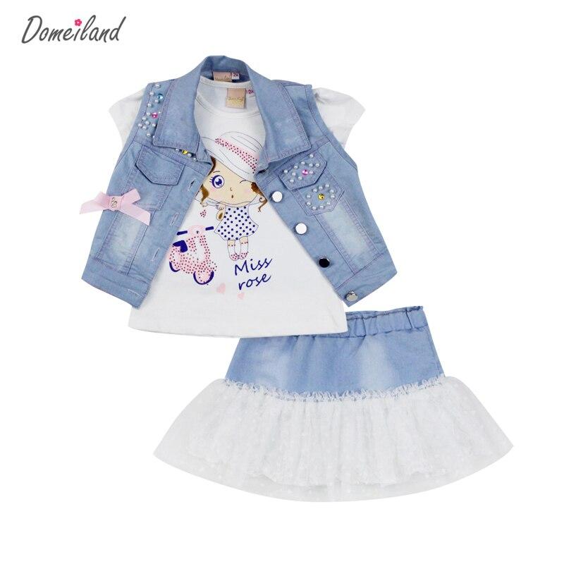 2017 модные domeiland летняя детская одежда Комплекты для девочек джинсовый короткий жилет Куртки хлопок Детские Топы костюмы с юбкой одежда