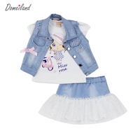 2016 Fashion Summer Children Clothing Sets Girl Boutique Outfits Denim Short Jackets Cotton Cartoon Tops Skirt