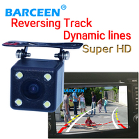 hd ccd image lens universal car use car rear reversing camera Plug +led lights + Dynamic track line +higest lcd night vision