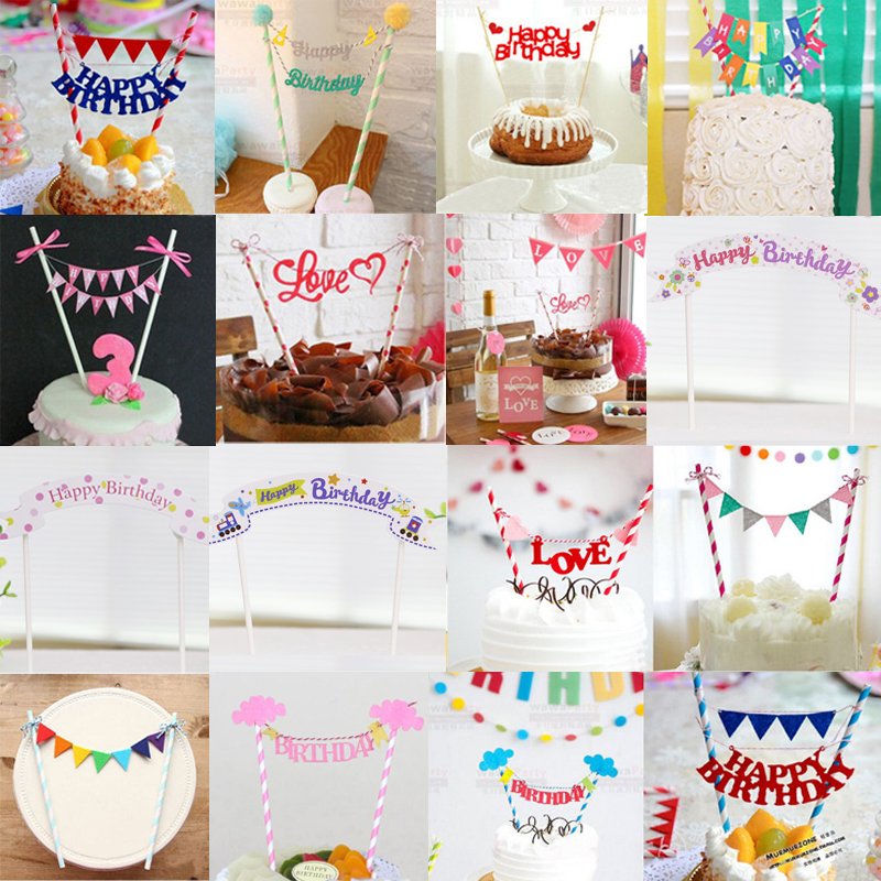 Decorations Birthday Kids Cake Baby Wedding Cupcake Party Supplies Shower Cute Topper 2016 Gift Toppers