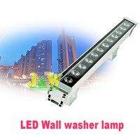 2 pçs/lote de alta potência 12 w 46*46*500mm ip65 à prova dwaterproof água ao ar livre led luz de inundação led wall washer lâmpada paisagem lavagem parede luz