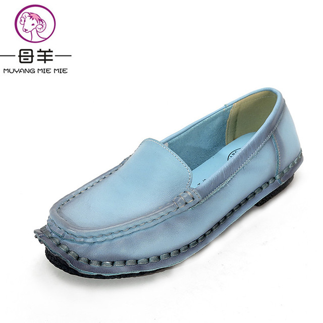 2017 New Fahion Spring And Autumn Handmade Women Shoes Woman Loafers Genuine Leather Shoes Flat Casual Work Shoes Women Flats