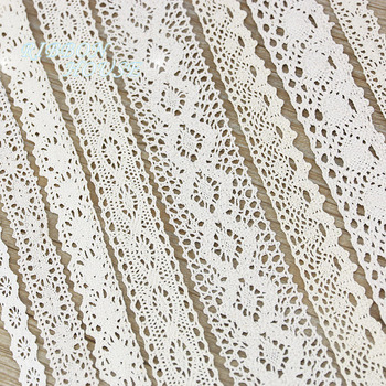 (5Meter/roll) White Beige Cotton Embroidered Lace Net Ribbons Fabric Trim DIY Sewing Handmade Craft Materials 1