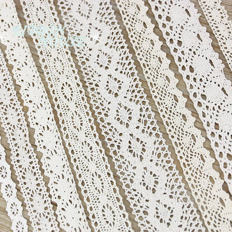 (5Meter/roll) White Beige Cotton Embroidered Lace Net Ribbons Fabric Trim DIY Sewing Handmade Craft Materials
