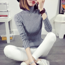 New 2017 Autumn Winter Fashion Women Sweater Turtleneck Pullover Womens Sweaters And Pullovers Female Knitted Striped Sweater